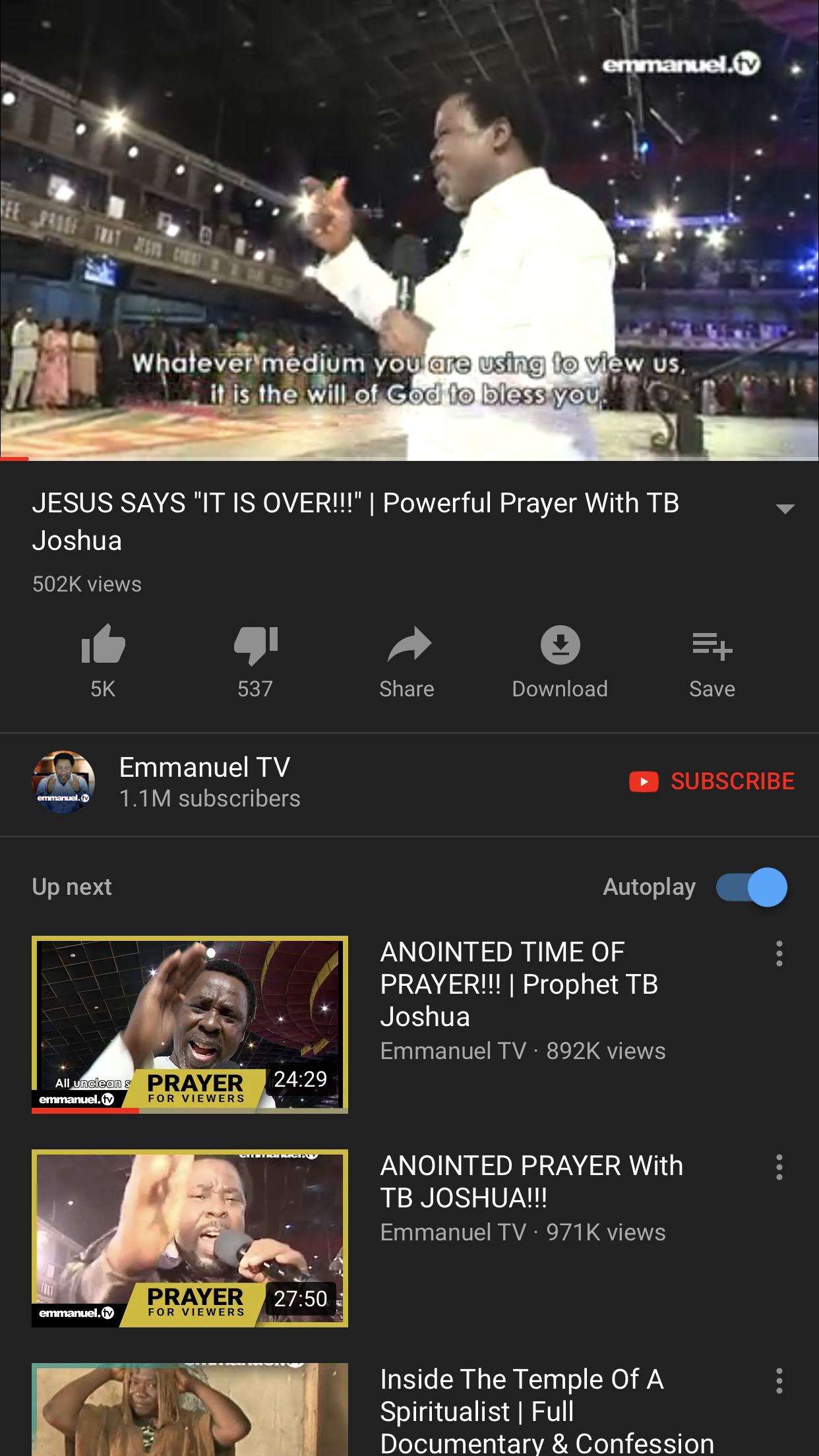 Delivered From Masturbation, Porn Through Emmanuel TV On YouTube